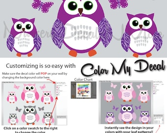 6 Purple Owl Sticker, Girl Owl Wall Decals (6 Purple Green) 6ROO