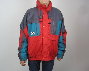 vintage 80's 90's Windbreaker jacket ski winter colorblock tricolor size 56