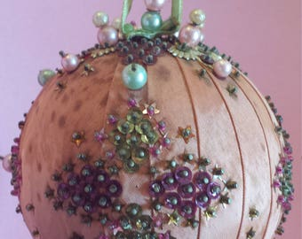 Vintage Victorian Christmas ornament, kissing ball, beaded, sequined