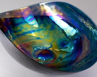 Huge Murano Folded Iridescent Art Glass Bowl