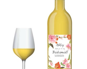 Personalized Floral Watercolor Wine Bottle Label- custom will you be my bridesmaid, maid of honor, bridal party, wedding party