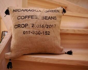 Cushion in Burlap (coffee bag)