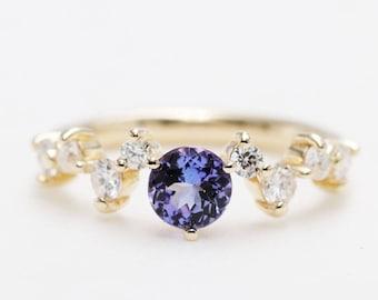 Natural Blue Tanzanite 0.5CT & Diamond Engagement Ring/14K Gold Engagement Ring/Tanzanite Anniversary Ring/Diamond Engagement Ring