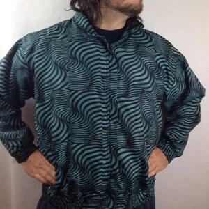 Vintage 90s Track Jacket Turquoise Aqua Black Psychedelic Stripe Nylon Mens XL Argee S8OEJ1tc