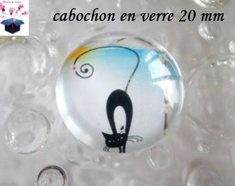 1 cabochon clear 20mm cat theme to the beach