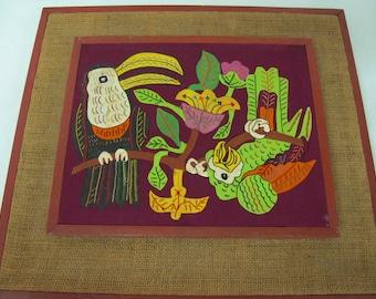 Mid Century Mola Mexican Applique Folk Art Embroidery Toucan Parrot