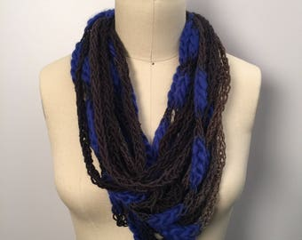 Blue/Brown Lucetted Scarf Necklace with Repurposed Leather Detail - Hand Knit w/ Lucet
