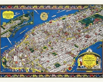 1926 Manhattan Northern Part Map Wrapping Paper by Cavallini to Frame or Wrap, Book Binding, Collage, Scrapbook, Paper Arts PSS 3506