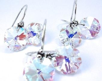 Vintage Strass Swarovski Crystal Elements Earrings, Crystal AB Octagon Earrings, Bridal, Wedding, Three Pairs Discount Sale, Free US Ship
