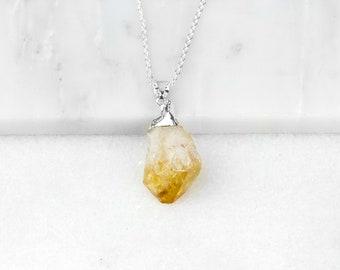 Citrine Necklace, Citrine Pendant, Citrine Point, Citrine Jewelry, Raw Citrine Pendant, Citrine Crystal, Raw Citrine, Raw Crystal Necklace