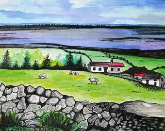 Ireland Paintings, Ireland Watercolors, Ireland Prints, Irish Art, Ring Of Kerry, Irish Rolling Hills, Grazing Sheep, Stone Walls, Cottage