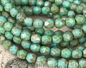 6mm Faceted Round Beads (30) Picasso Czech Glass Fire Polished - Opaque Turquoise Green - Bohemian Rustic Earthy - Central Coast Charms