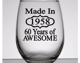 60th Birthday Gift for Men, 60th Birthday Gift for Women, Birthday Wine Glass, Birthday Gift for Mom, Made in 1958, 60th Party Favors
