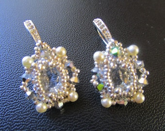 Woven earrings, diamond glass beads and silver seed beads