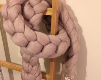 Chunky Knit Pom Pom Scarf, Chunky Cosy Scarf, Pom Pom Wrap around Scarf - Chunky Merino Wool