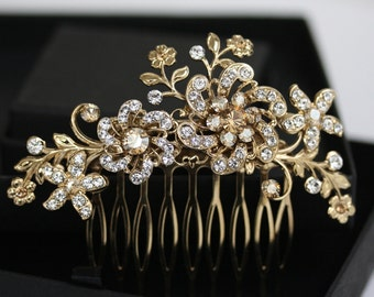 Bridal Headpiece Gold Wedding Hair Accessories Golden Shadow Crystal Hair Comb Flower Hair Piece SABINE