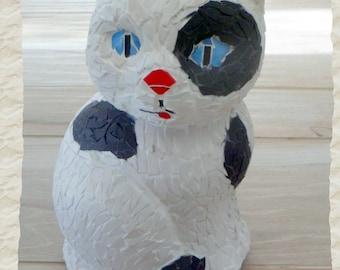 """White cat""""cat black and white mosaic, briare enamel, mosaic cat, cat, cat decor, unique decoration"""