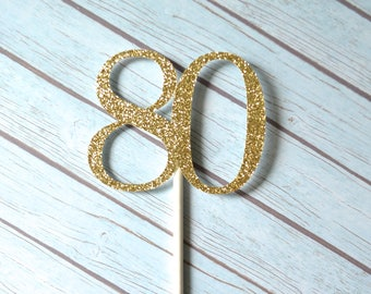 80th Birthday Cupcake Toppers, 80 Cupcake Toppers, Eighty Cupcake Toppers, Eightieth Birthday, Eighty Birthday Cupcakes, Gold Glitter Topper