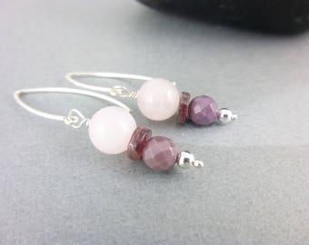 Rose Quartz / Tourmaline / Mookaite Chakra Earrings, Pink & Plum Tones, Dangle Earrings, Powerful Healing Crystals, Chakra Jewelry