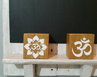 Candle blocks om symbol hand painted