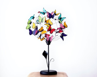 Table lamp with arum Lilly and butterflies-butterfly lover,Gift for Women,gift mother,Shadow lamp, Decor,for her,rainbow colors