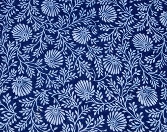 Sold By Yard Indigo Fabric From India, Batik Fabric,Cotton Fabric, Block Printed Fabric, Indigo Blue Vegetable Dye Cotton Indian Fabric