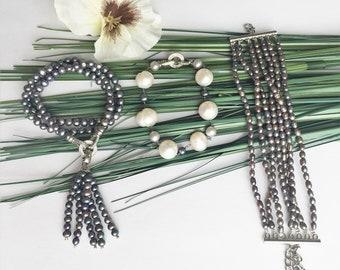 Pearl bracelet black 7 lines  fashion jewelry 5mm