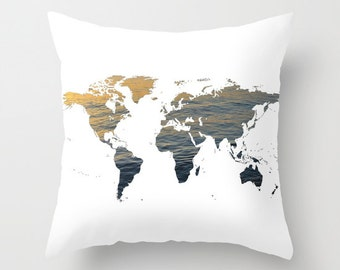 Ocean texture map pillow cover world map home decor interior sea texture world map pillow world map home decor interior design accent piece world map dorm office pillow brown black white gumiabroncs Images