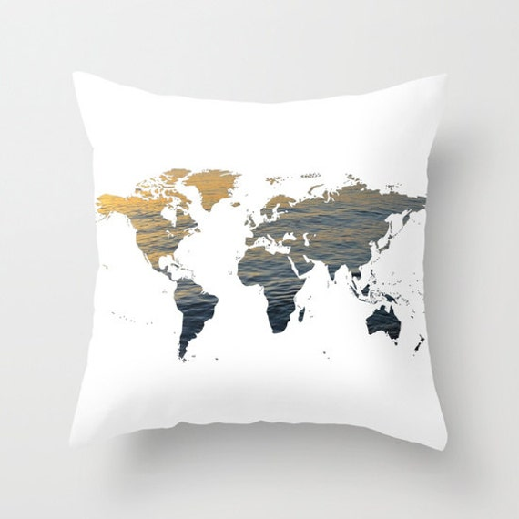 Sea Texture World Map Pillow, World Map Home Decor, Interior Design, Accent Piece,  World Map, Dorm, Office Pillow, Brown Black White