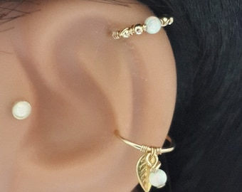 White Opal Cartilage Earring- Gold Beaded Helix Hoop -  Silver Cartilage Piercing - Helix Jewelry - 16g 18g 20g 22g - Holiday Gift