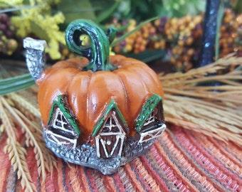Miniature Teeny Pumpkin Fairy House