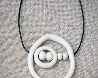 Handmade porcelain pendant, Asymmetric necklace, Gift for her, Raw ceramic jewelry