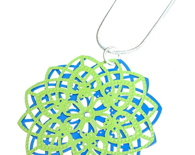 Spirograph Stainless Steel Pendant in Apple Green/Blue