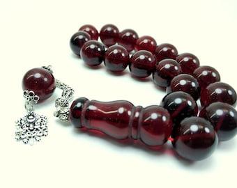 Amber Rosary with 17 beads, Islamic Prayer Beads, Tesbih, Pressed Amber Rosary, 17 Beads Rosary, with Silver Chain
