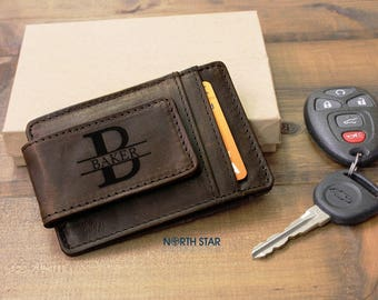 Mens Leather Money Clip, Husband gift, Gifts for Him, Mens Leather wallet, Money Clip, Personalized Leather Money Clip, Anniversary gifts
