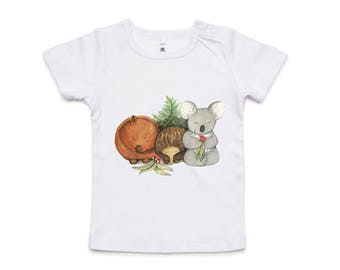 Australian Native Baby Animals baby tshirt (with koala, wombat and echidna).  Sizes 6 - 12 month & 12 - 18 month