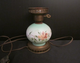 Vintage Milk Glass Hurricane Lamp Globe with Blue Rose Pattern