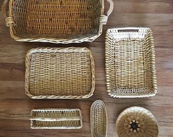 6 Vintage Wall Basket, Boho Wall Decor, Rattan Basket Set, Jungalow Wall Art, Storage Baskets, Vintage Basket, Boho Decor, Farmhouse Decor
