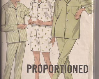 Advance 2937 Men's Pajamas In Proportioned Size B (38-40) Vintage 1960's