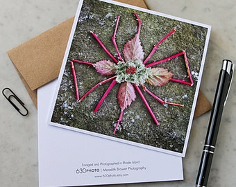 Pink Pokeberry Mandala Note Card with 5x5 square envelope, blank inside