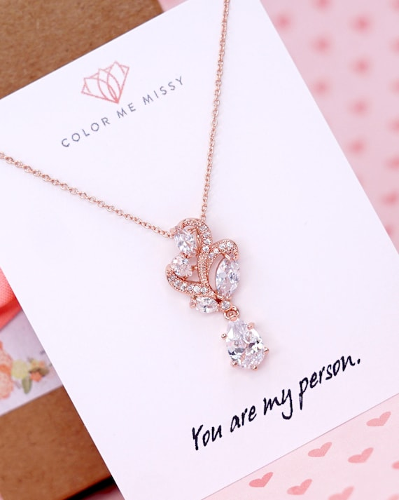 Rose Gold Filled Chain Floral Cubic Zirconia Necklace | Wedding Bridesmaid Gift Bridal Necklace Jewelry N222