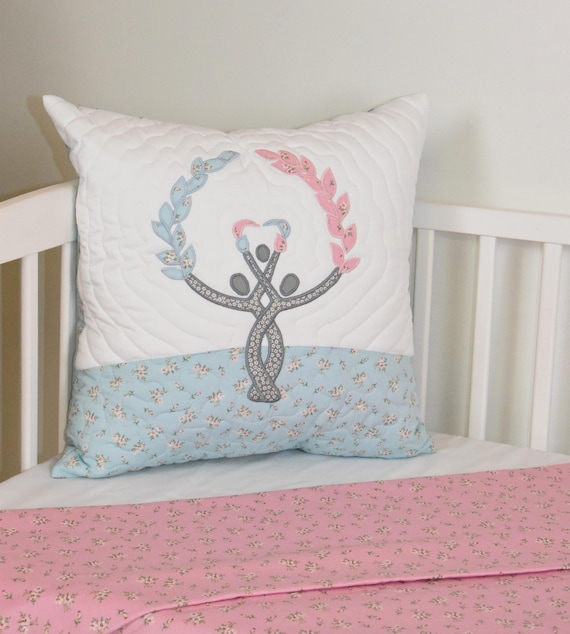 Family Tree Pillow Decorative Kids Pillow  Nursery Decor, Pink Blue Gray