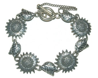 "Vintage Mexican Sterling Silver 925 Sunflower Toggle Bracelet 8"""