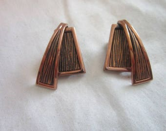 1950's Retro Designer Renoir Stylized Copper Clip on Earrings Very Nice