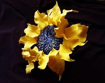 sunflower hair clip, alligator hair clips, accessories for hairs, sunflower accessory for women