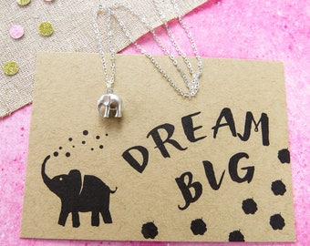 Dream Big Elephant Necklace - Silver Elephant Necklace- Gift for Friend - Elephant Jewellery - Dainty Elephant Necklace - Gift for Her