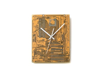 Mustard Yellow Wall Clock, Industrial Design Wall Decor, Industrial Office Wall Art, Fathers Day Gift, Anniversary Gift Idea, Tech Gift