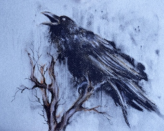 Original Charcoal Drawing of a Raven on a Branch Black and White Crow Art 12x8""