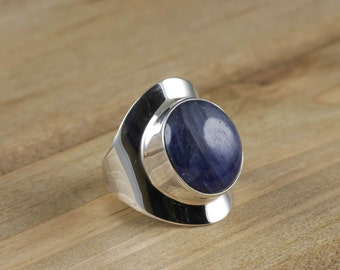 Size 6.75 Blue SAPPHIRE Ring - Sterling Silver Bezel Ring Handmade Jewelry - Natural Sapphire Stone Cabochon - Sapphire Jewelry J1047