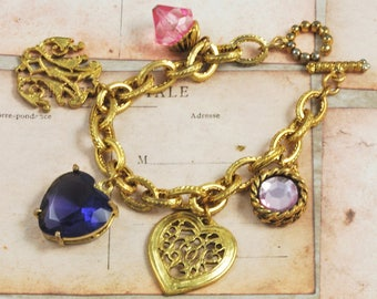 Vintage Amethyst Glass Heart Charm Bracelet Goldtone Pretty for Valentines Day